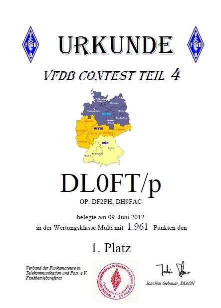 Urkunde UHF 70cm